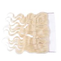 pièce de fermeture ondulée péruvienne achat en gros de-Péruvien 613 Blonde Pleine Dentelle Frontale Fermeture Bleach Blonde Corps Vague Ondulée 13x4 Oreille à Oreille Dentelle Frontal Pièces Avec Cheveux De Bébé