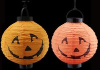 Wholesale Outdoor Lighting Paper Lanterns - Wholesale Halloween Decoration LED Paper Pumpkin Light Hanging Lantern Lamp Halloween Props Outdoor Party free shipping