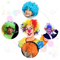 Wholesale Free DHL Clown Wig Halloween Disco Curly Wig Child Adult Rainbow Afro Wigs Color Football Fan Wig Spirit Wig Gift E731L