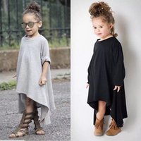 Wholesale Spring Shirts For Girls - Baby Girl Autumn Dress Max Batwing Loose Asymmetric Long Sleeve T-Shirts For Kids Costume Casual Black and Gray Free Shipping TSG18