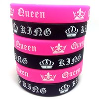 Wholesale Couple Wristband Bracelets - Lovers Couples King and Queen Silicone Bracelets Her King His Queen Charm Wristbands Anniversary Christmas Xmas Birthday Gift Favor