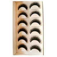 Wholesale fake tips - 6 Pairs Of Eyelashes Mink Collection False Eyelashes Real Hair Handmade Fake Eye Lashes Professional Makeup Tip Bigeye Long False Eye Lashes