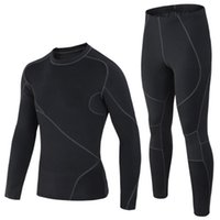 Wholesale Thermo Thermal Clothes - Wholesale-High-quality Thermal Underwear Men underwear sets compression sport fleece sweat thermo underwear men clothing Long Johns