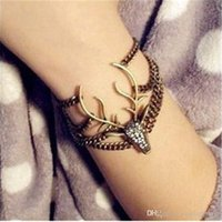 Wholesale Deer Bracelet Retro - Europe and the United States retro multi-storey diamond horn bracelet Korea flash drill deer head bracelet wholesale free shipping