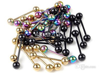 Wholesale Lip Bar Jewellery - Wholesale-30Pcs Titanium Anodized Steel Tongue Belly Lip Bars Ring Piercing Jewellery Hot