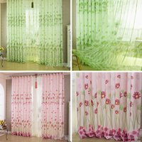 Wholesale 1Pc Home Sunflower Printed Curtains Short Curtain Window Curtain Drape Panel Sheer Curtains E00623 SPDH