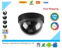 Wholesale Ir Led Camera Flash - LUCKER SECURITY Home Security Fake Camera Simulated video Surveillance Ir Led Fake Dome CCTV AA Battery for Flash Blinking LED