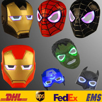 Wholesale Masquerade Party Kids Costumes - Halloween Costumes For Kids Children Adult Animation Cartoon Spiderman Revenge Alliance Led Of Light Mask Masquerade Full Face Masks HH-M01