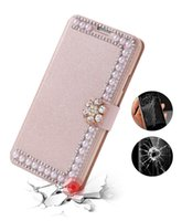 Wholesale Pearl Iphone Case Cover - For Samsung S8 S8 Plus S7 S6 edge Bling Rhinestone Diamond Pearl Leather Wallet Case Shinny Colorful Cover Glitter Pouch For iPhone 6s