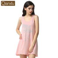 Wholesale Women S Sleeveless Cotton Nightgowns - Wholesale-Qianxiu Cotton Nightgown For Women Knee-length Sleepshirts Summer Sleeveless Sleepwear