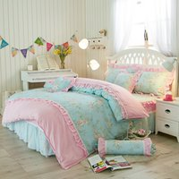 Wholesale Comforter Sets Full Girls - 2017 newest Korean style bed skirts bedding set printing Flower contton bedding set womens bedroom bedding for girls and kid