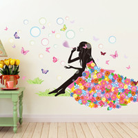 Wholesale Dress Wall Decal - Elf Girl Blow Bubbles on Grassland Wall Decals Home Decor Butterfly Flowers Dress Landscape Wall Mural Poster Wall Sticker