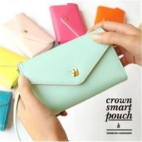 Wholesale Envelope Wallet Case For Iphone - Korea style envelope PU leather hand bag with hand strap candy color small cute pouch wallets for iphone 4 5 6 plus samsung s5 s6 s7 lg sony