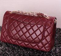 Wholesale Single Ribbon Flowers - 1119 1113 Bordeaux Lambskin Caviar Bag Top Real leather Leather 30CM Double Flap Bag Women's Genuine Leather Ladies Shoulder Bag