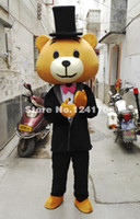 Wholesale Teddy Bear Mascot Suit - Valentine's Day Gentleman Suit Adult Costume Teddy Bear Cartoon Mascot Character Costume
