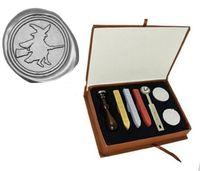 Wholesale Gift Box Wedding Invitations - Custom Picture Wedding Invitation Witch Broom Wax Seal Stamp Kit Gift Box Set