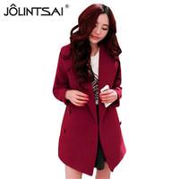 Wholesale korean long vest coat - 2016 Hot Sale Winter Women Coat Fashion Korean Solid Slim Wool Coat Double Breasted Full Outwear Size S-XL AE-AY-028