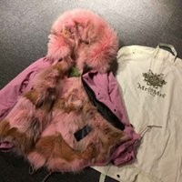 Wholesale Xs Dog Collar Green - Outerwear good quality Pink fur coat MR MRS itlay coyote fur lined parka with Embroidery logo MR & MRS FUR wolf mini jackets