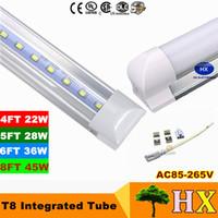 4ft 28w leuchtstoffröhre großhandel-1 Fuß 2 Fuß 3 Fuß 4 Fuß 5 Fuß 6 Fuß 8 Fuß T8 LED-Röhren Licht 18 W 22 W 28 W 36 W 45 W integrierte LED-Leuchtstoffröhre Lampe AC 110-240 V