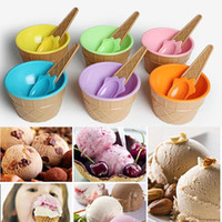 Wholesale Dessert Cups - 2017 new colored Children's Ice Cream Bowl with Spoon kids ICE Cream cup tubs Dessert Bowl BPA free (7)