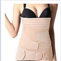 Wholesale Waist Cincher Sets - Wholesale- 3PCS Set Body Shaper Postpartum Recovery Waist Tummy Belt Body Shaper Hip Cincher Abdominal Binder 2 Sizes