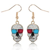 Wholesale Italian Fashion Earrings - New Earrings for women popular Italian fashion skull earrings gold plated drip painting earrings free shipping