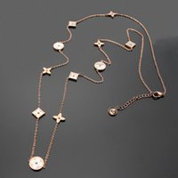 Wholesale Long Leaf Pendant Necklace - Titanium steel Rose Gold long Necklaces for women Top Quality Europe and America white Shell four leaf flower sweater chain pendant necklace