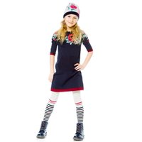 Wholesale Girl Cotton Sweater Dress - Kidsalon Flower Printed Girl Princess Dress 2018 Long Sleeve Cotton Sweater Dress for Children Clothing 2-8T
