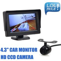 Wholesale Cable Camera Ccd Color - Universal 4.3 Inch Color TFT LCD Car Monitor with HD CCD Rear View Car Camera Parking System Free Video Cable