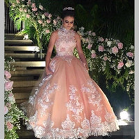 Wholesale Long Debutante Party Dresses - Sweet 16 Year Lace Champagne Quinceanera Dresses 2017 vestido debutante 15 anos Ball Gown High Neck Sheer Prom Dress For Party