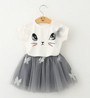 Wholesale Toddler Skirt Suit - 2016 baby Summer girls clothing set Cartoon Cat T shirt Yarn TUTU lace Skirt Children kids clothes suits Fashion toddler clothes HJIA451