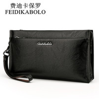 Wholesale Leather Man Clutch Bags - FEIDIKABOLO Brand Zipper Men Wallets with Phone Bag PU Leather Clutch Wallet Large Capacity Casual Long Business Men's Wallets