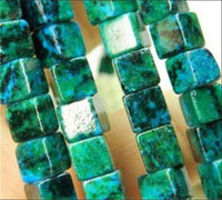 """Wholesale Loose Square Gems - free shipping natural beautiful Jewelry NEW 1 Strand New 5x5mm Azurite Chrysocolla Gems Square Loose Beadodochrosite COLUMN LOOSE BEADS 15 """""""