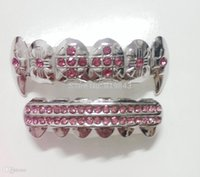¡Al por mayor-REAL SHINY !! VIDRIO DE PIEDRA ROSA PLAIDO DEL RHODIO DE IMI HIPHOP TEETH GRILLZ
