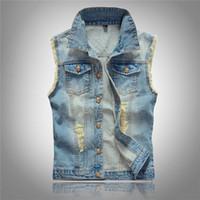Wholesale Men Casual Vest Outwear - Men's Slim Fit Retro Ripped Denim Jeans Vest Sleeveless Outwear Waistcoat Jacket
