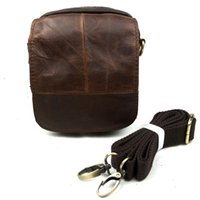 Wholesale Leather Waist Pouches Mens - Vintage Mens Genuine Leather Waist Bag Pack Small Messenger Fanny Pack Bum Bag Day Pack Pouch Hip Belt Bag Men Bags Chocolate