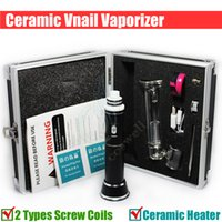 Wholesale Nail Dryer Kits - Ceramic VNail portable Kits Dry Herb Wax herbal vaporizer dab Titanium chamber dabber Coil 18650 battery ecigs glass bongs bong Vape Nail