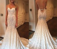 Wholesale Custome Made Sexy Wedding Dresses - Vestido De Noiva Sexy Mermaid Wedding Dress Custome Made 2017 Spaghetti Strap Bridal Gowns Lace Wedding Gowns