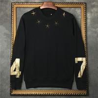 altın metal yıldızlar toptan satış-2019 hotselling sonbahar moda etiketi giyim mens altın metal yıldız 74 sıcak damga baskı hoodies kazak Tasarımcı kazak bayan süveter
