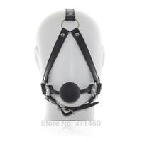 Wholesale Black Leather Head Harness - sexy Faux Pu Leather Head Harnesses Restraint Ball Gag Sex Bondage Fetish Black Male Female Unisex