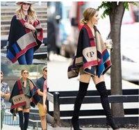 Wholesale Women Winter Sweater Outerwear - Fashion Women Winter Knitted Cashmere Poncho Capes Shawl Cardigans Sweater Coat Warm Outerwear Capes 135x175cm Without Letter