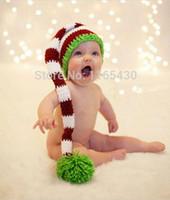 Wholesale Crocheted Boys Stocking Hat - 100% Pure Handmade Newborn Baby Boys Girls Toddlers Photography Prop Crochet Santa Christmas Stocking Hat Santa Elf Hat