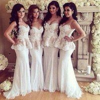 Wholesale Cheap White Peplum Skirts - Cheap Long Bridesmaid Dresses New Styles Sweetheart Sweep Train Beaded Appliques Peplum Skirt Maid of Honor Dresses