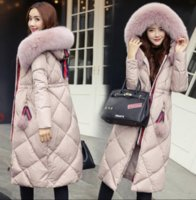 Wholesale Girls Black Fur Coat - 2017 Winter Women Hooded Coat Fur Collar Thicken Warm Long Jacket women's coat girls long slim big fur coat jacket Down Parka