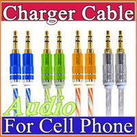 Wholesale Cable Iphone Mini Jack - 3.5mm Stereo Audio AUX Cable Dual Color Wire Auxiliary Cords Jack Male To Male M  M 1M 3FT For Iphone Samsung Mobile Phone N-SJ
