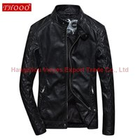 Wholesale Diamond Lattice Jacket - 2016 New THOOO Fashion Brand Men Jacket PU Leather Lattice Diamond Design On Sleeve Locomotive Leather Jacket Men Clothing