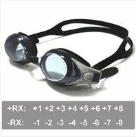 lunettes de natation optiques achat en gros de-Lunettes de natation optiques Hypermétropie +1,0 à +8,0 Prévoyance, myopie -1,0 à -8,0, Enfants adultes Des forces différentes pour chaque œil