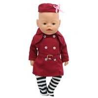 Wholesale Zapf Dolls - Zapf Baby Born Doll Clothes Stewardess Uniforms + Hat + Sock Suit Fit 43cm Zapf Baby Born Doll Accessories Girl Gift