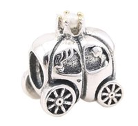 Wholesale Car Charms For Bracelet - Sterling Silver Princess Pumpkin Car Charm European Threaded Charms Beads For Pandora DIY Snake Chain Bracelets Designer Jewelry