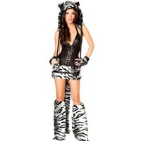 Wholesale Halloween Costume Woman Tiger - High Quality 5 Pieces Sexy Tiger Villus Adult Costume Naughty Animal Cosplay Fancy Dress Halloween Gray Tiger Costume W438424